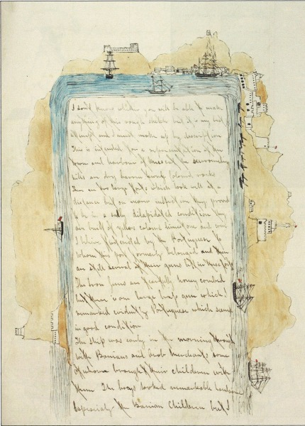 Text and illustration from Thomas' 1847 journal that records his arrival in Muscat, Oman.